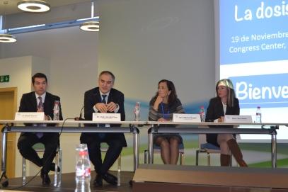 David García, director del área de Radiología de Bayer.; Dr. José Luis del Cura presidente SERAM; Dra. María Luisa Chapel, presidenta SEFM; y Laia Febrer,